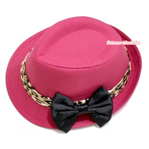 Leopard Lacing Hot Pink Jazz Hat With Black Satin Bow H598