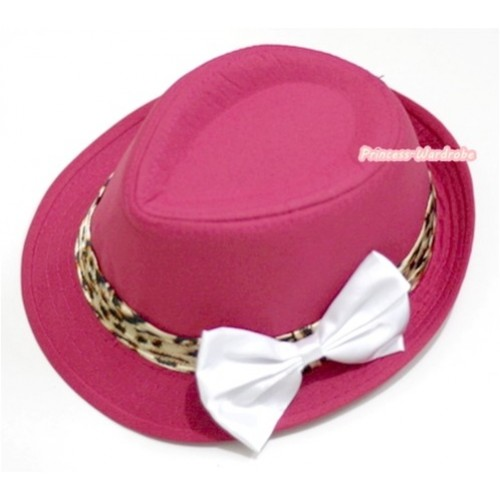 Leopard Lacing Hot Pink Jazz Hat With White Satin Bow H599