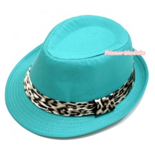 Leopard Lacing Aqua Blue Jazz Hat H600