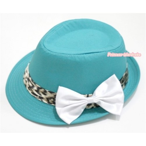 Leopard Lacing Aqua Blue Jazz Hat With White Satin Bow H602