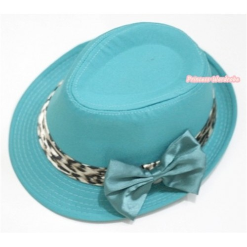 Leopard Lacing Aqua Blue Jazz Hat With Light Blue Satin Bow H603