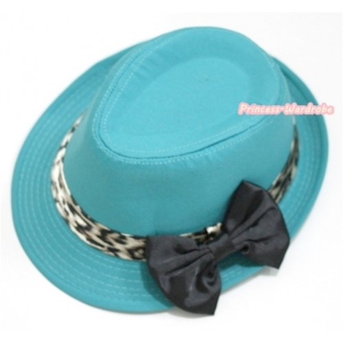 Leopard Lacing Aqua Blue Jazz Hat With Black Satin Bow H604