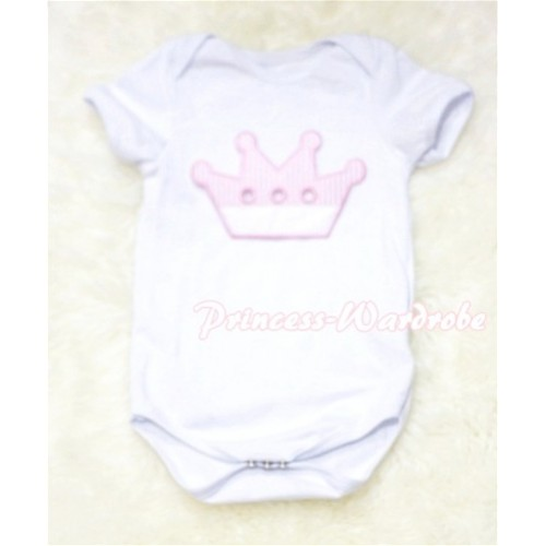 White Baby Jumpsuit with Crown Print TH91