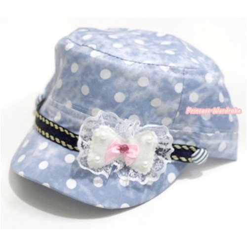 Light Blue White Polka Dots Military Cap With Lace Bow H606