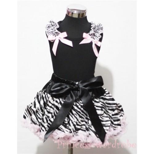 Black Pettitop with Zebra Ruffles Light Pink Bow with Light Pink Zebra Pettiskirt MW07
