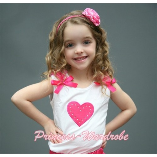 Hot Pink Sweet Heart White Tank Top with Hot Pink Ruffles and Hot Pink Bows TM160