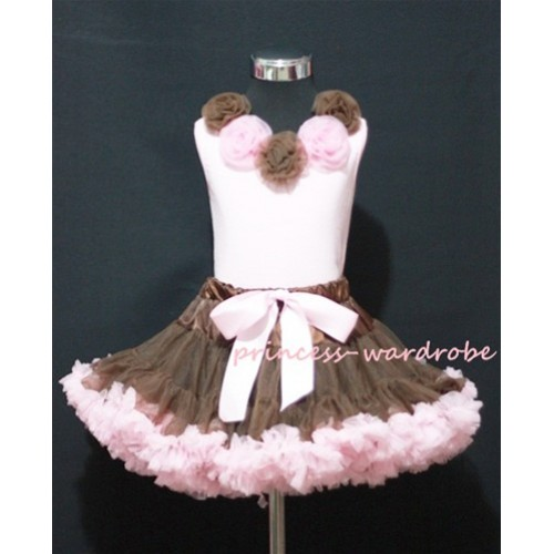 Brown and Light Pink Pettiskirt with Matching Brown and Light Pink Rosettes Pink Tank Tops MP03