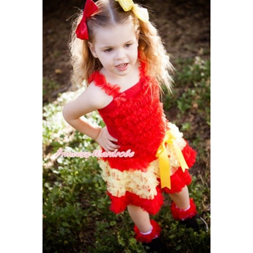 World Cup Red Ruffles Tank Top with Spain Red Yellow Ruffles Pettiskirt MR253