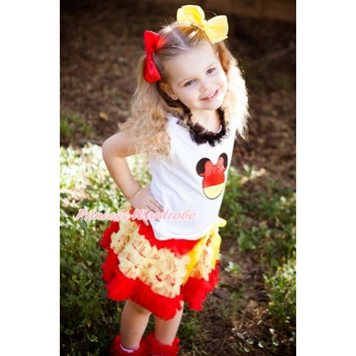 World Cup White Tank Top With Black Chiffon Lacing & Sparkle Red Germany Minnie Print  With Spain Red Yellow Ruffles Pettiskirt MG1110