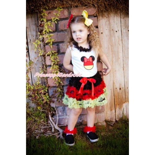 World Cup White Tank Top With Black Chiffon Lacing & Sparkle Red Germany Minnie Print  With Germany Black Red Yellow Ruffles Pettiskirt MG1111