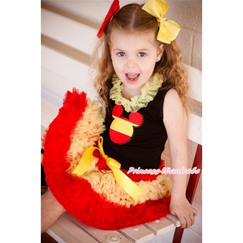 World Cup Black Tank Top With Yellow Chiffon Lacing & Spain Minnie Print With Spain Red Yellow Ruffles Pettiskirt MG1114