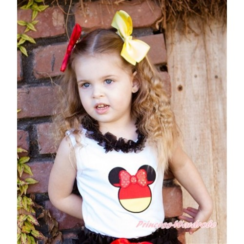World Cup White Tank Top With Black Chiffon Lacing & Sparkle Red Germany Minnie Print TB712