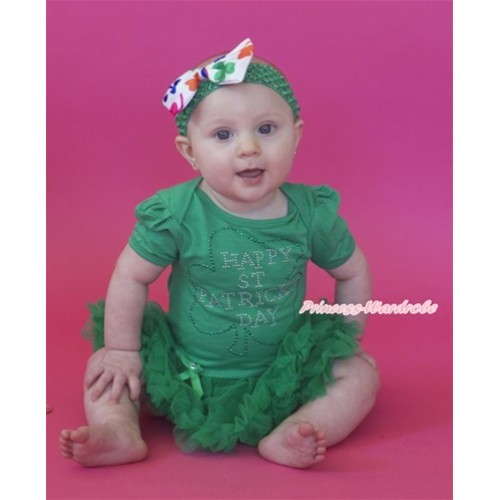 St Patrick's Day Kelly Green Baby Jumpsuit Kelly Green Pettiskirt With Sparkle Crystal Bling Rhinestone Clover Print With Kelly Green Headband Rainbow Clover Satin Bow JS3207