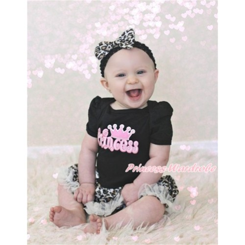 Black Baby Jumpsuit Leopard Cream White Pettiskirt With Princess Print With Black Headband Leopard Satin Bow JS3208
