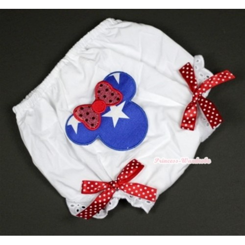 White Bloomer With Patriotic American Minnie Print & Minnie Dots Bow BL94