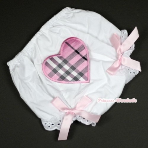 White Bloomer With Light Pink Checked Heart Print & Light Pink Bow BL97