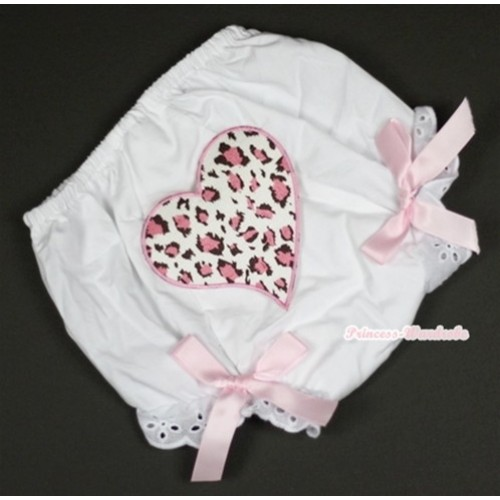 White Bloomer With Light Pink Leopard Heart Print & Light Pink Bow BL98