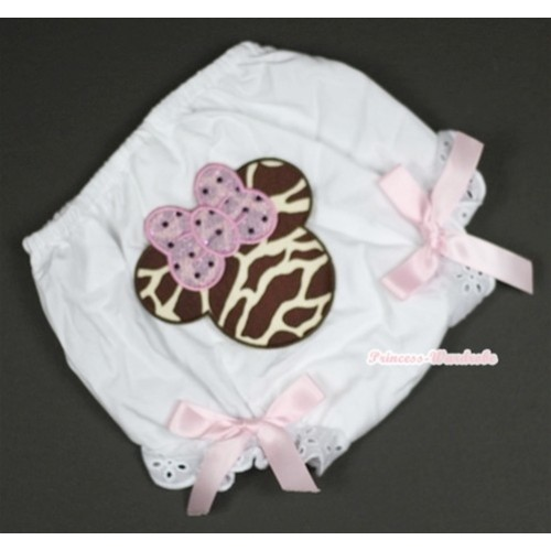 White Bloomer With Brown Giraffe Minnie Print & Light Pink Bow BL102