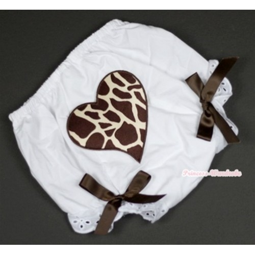 White Bloomer With Brown Giraffe Heart Print & Brown Bow BL103