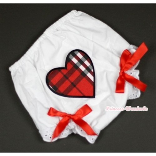 White Bloomer With Red Black Checked Heart Print & Red Bow BL105