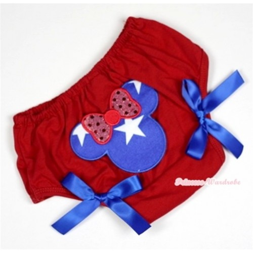 Red Bloomer With Patriotic American Minnie Print & Royal Blue Bow BL107