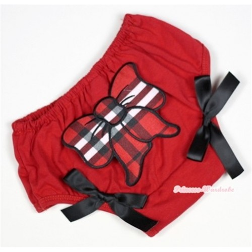 Red Bloomer With Red Black Checked Butterfly Print & Black Bow BL109