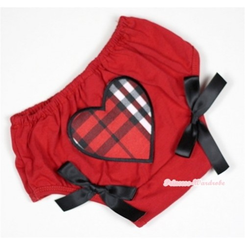 Red Bloomer With Red Black Checked Heart Print & Black Bow BL110