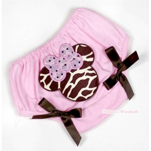 Light Pink Bloomer With Brown Giraffe Minnie Print & Brown Bow BL112