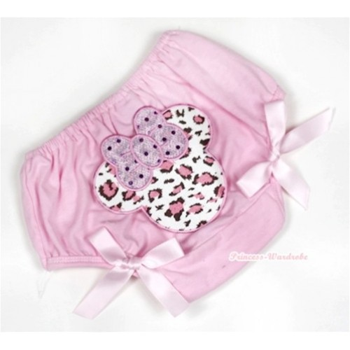 Light Pink Bloomer With Light Pink Leopard Minnie Print & Light Pink Bow BL116