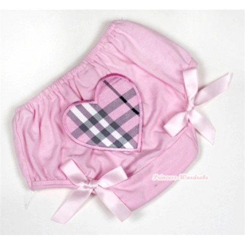 Light Pink Bloomer With Light Pink Checked Heart Print & Light Pink Bow BL117