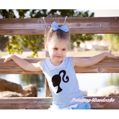 Light Blue Tank Tops with White Chiffon Lacing with Barbie Princess Print TM253