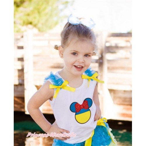 World Cup White Tank Top With Peacock Blue Ruffles & Yellow Bow With Sparkle Red Ukraine Minnie Print TB716