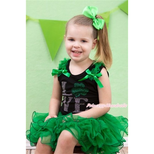 St Patrick's Day Black Tank Top With Kelly Green Ruffles & Kelly Green Bow & Sparkle Crystal Bling Rhinestone Love Clover Print With Kelly Green Bow Kelly Green Petal Pettiskirt MG1119