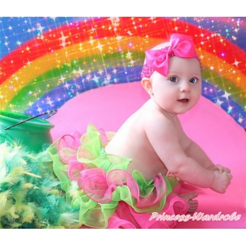 Kelly Green Hot Pink Flower Petal Newborn Baby Pettiskirt With Hot Pink Bow N213
