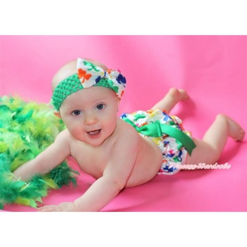 St Patrick's Day Rainbow Clover Satin Layer Panties Bloomers with Kelly Green Bow & Kelly Green Headband Rainbow Clover Satin Bow BA23