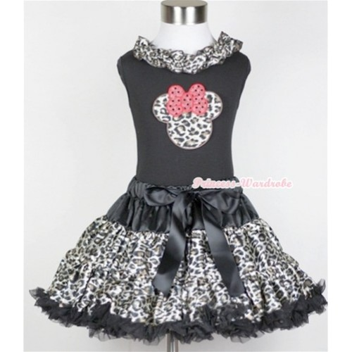 Black Tank Top With Black Leopard Satin Lacing With Leopard Minnie Print with Black Leopard Pettiskirt MW213