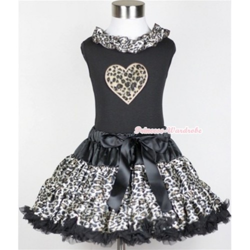 Black Tank Top With Black Leopard Satin Lacing With Leopard Heart Print with Black Leopard Pettiskirt MW214