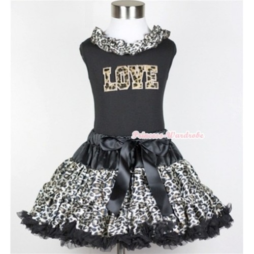Black Tank Top With Black Leopard Satin Lacing With Leopard Love Print with Black Leopard Pettiskirt MW215