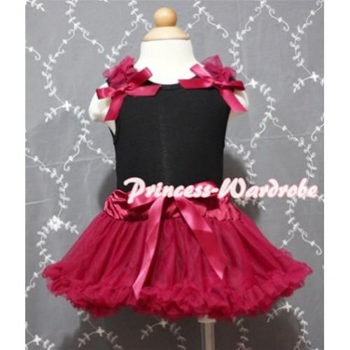 Black Baby Pettitop & Raspberry Ruffles & Raspberry Bow with Raspberry Baby Pettiskirt NG332