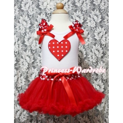 Red White Polka Dots Heart Print White Baby Pettitop & Minnie Ruffles & Red Bow with Minnie Waist Baby Pettiskirt NG334