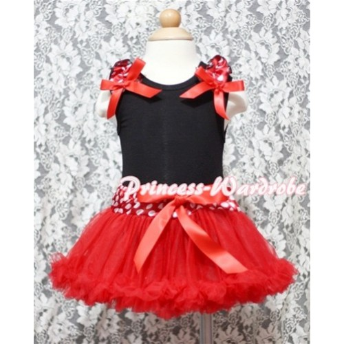 Black Baby Pettitop & Minnie Ruffles & Red Bow Baby with Minnie Waist Baby Pettiskirt NG336