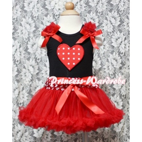 Red White Polka Dots Heart Print Black Baby Pettitop & Red Ruffles & Red Bows with Minnie Waist Baby Pettiskirt NG339
