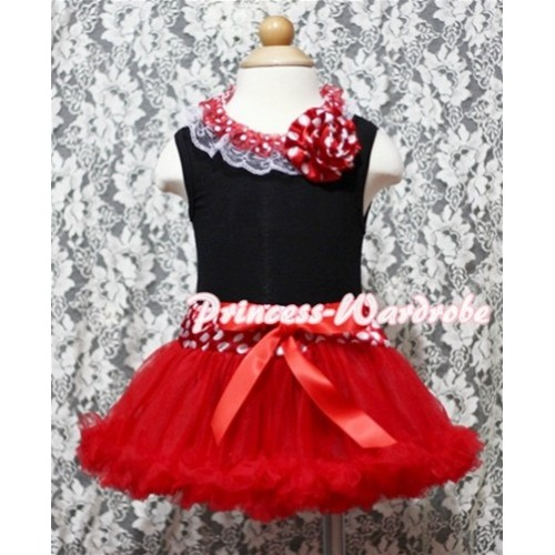 Black Baby Pettitop & Minnie Dot Lacing & Minnie Rosette with Minnie Waist Baby Baby Pettiskirt NG341