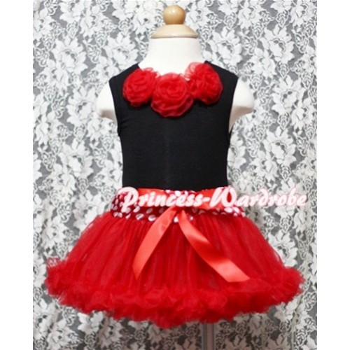 Black Baby Pettitop & Red Rosettes with Minnie Waist Baby Pettiskirt NG344