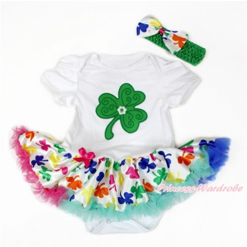 St Patrick's Day White Baby Bodysuit Jumpsuit Rainbow Clover Pettiskirt With Clover Print With Kelly Green Headband Rainbow Clover Satin Bow JS3223