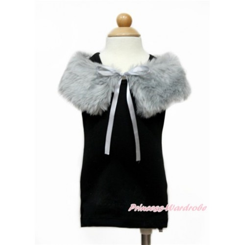 Grey Soft Fur Stole Shawl Shrug Wrap Cape Wedding Flower Girl Shawl Coat SH56