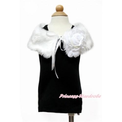 White Chiffon Rosettes with White Soft Fur Stole Shawl Shrug Wrap Cape Wedding Flower Girl Shawl Coat SH59
