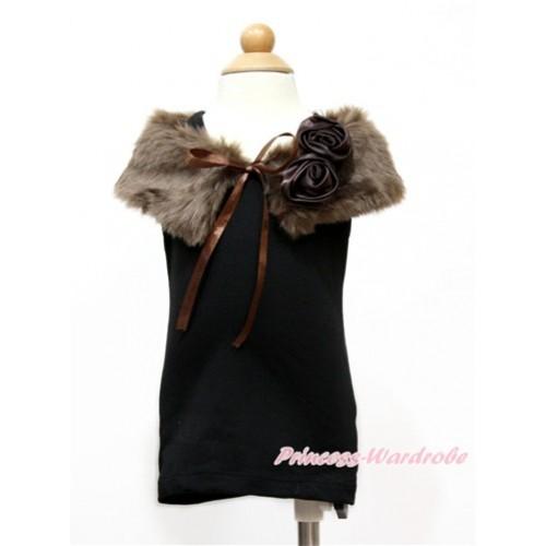 Brown Rosettes with Brown Soft Fur Stole Shawl Shrug Wrap Cape Wedding Flower Girl Shawl Coat SH60