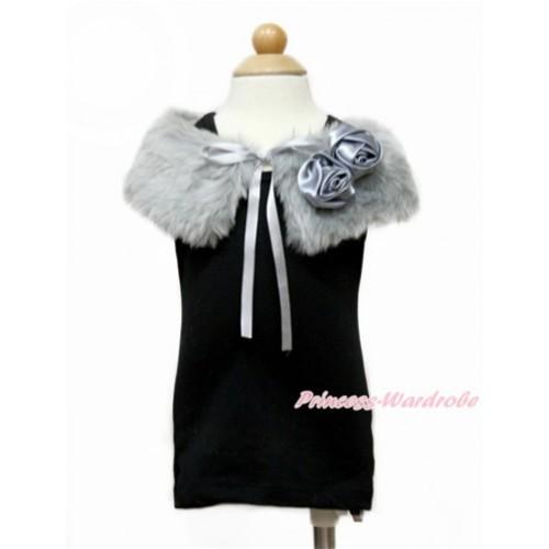 Grey Rosettes with Grey Soft Fur Stole Shawl Shrug Wrap Cape Wedding Flower Girl Shawl Coat SH61