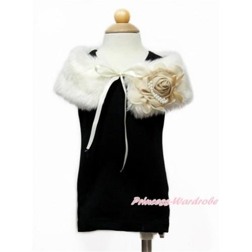 Khaki Chiffon Rosettes with Cream White Soft Fur Stole Shawl Shrug Wrap Cape Wedding Flower Girl Shawl Coat SH62